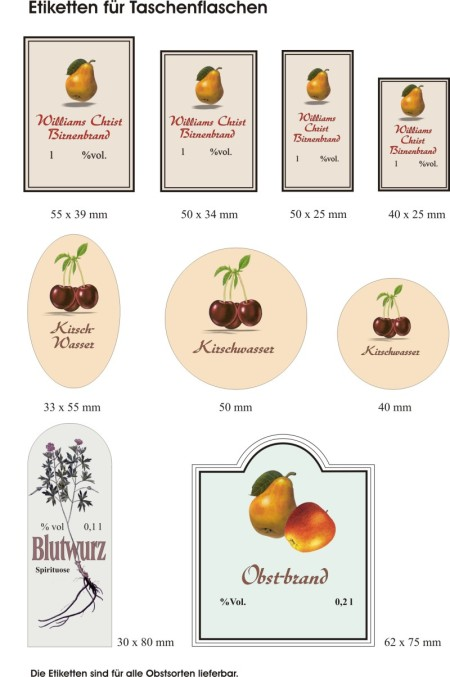 Etiketten Taschenflaschen
